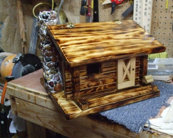 Log Cabin Dual Bird House and Feeder Stoned Chimney