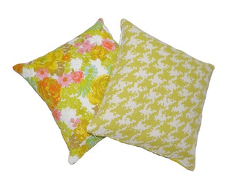 Floral and Houndstooth Accent Pillows 16x16