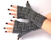 SALE - 50%OFF. Knit Fingerless Gloves. Hand Knit Fingerless Mittens. Knit Gloves. Dark Gray Gloves. Wrist Warmers. Long Gloves.