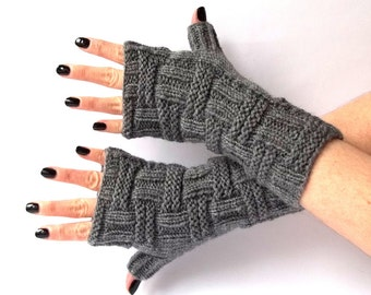 SALE - 20% Off! Knit Fingerless Gloves. Hand Knit Fingerless Mittens. Knit Gloves. Dark Gray Gloves. Wrist Warmers. Long or Short Gloves.