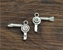 5/10/20/50 Hairdresser Blow Dryer Charms Antique Silver Tone 2 sided - SC2803