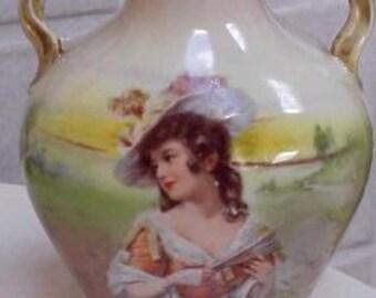 ROYAL BAYREUTH Victorian Vase Lady Vase Portrait Miniature Scenic Porcelain