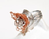 Ring Aluminum Wire Wrapped Crochet Copper Hammered  Ring