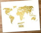 Adventure Is Out There - World Word Map with Travel Quote, Faux Gold Foil on White Background - INSTANT DIGITAL DOWNLOAD, printable - 8x10