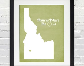 Home Is Where the Heart Is - State or Country, Personalized Gift Idea, Wedding, Anniversary, Housewarming, Moving Gift, Print or Canvas