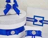 Wedding set - card box, ring pillow, guest book, basket girl - navy blue