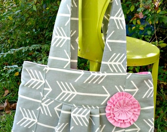 Arrow Purse, Gray Arrows purse, bag, tote  with pink lining & rosette, I Am The Carpenters Wife
