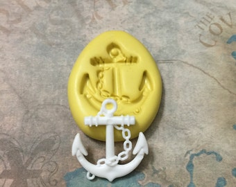 Nautical Ship Anchor Flexible Silicone Polymer Clay Soap Chocolate Fondant Push Mold - Food Grade 27x30mm