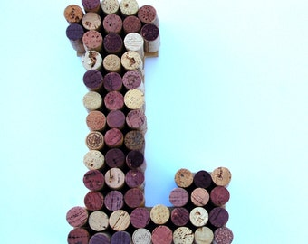 Wine Cork Letter L made from real wine corks! Cork Letters are a perfect wedding gift, anniversary gift or housewarming gift. Initial L. Art