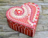 Red and gold glass mosaic heart shaped box