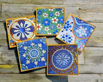 Greeting cards, mosaic design, set of 5
