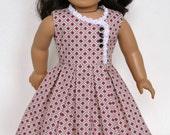 WWII Era 1950's American Girl 18 Inch Doll Dress Ruthie Kit Molly - Purple Geometric