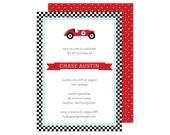Racecar Party Invitation (Racecar Invitation, Racecar Baby Shower, Racecar Birthday, Race Car Birthday, 1st Birthday, First Birthday)