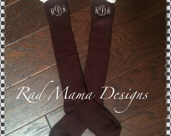 Adult Mongramed Boot Socks/Crocheted Lace