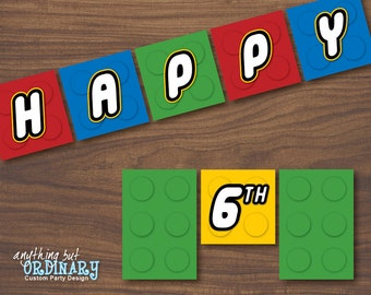 Building Blocks Birthday DIY Banner, INSTANT DOWNLOAD, printable digital file