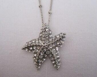 Rhinestone Starfish Necklace - Starfish Necklace - Silver Starfish Necklace - Beach Wedding - Wedding Jewelry - Nautical Jewelry