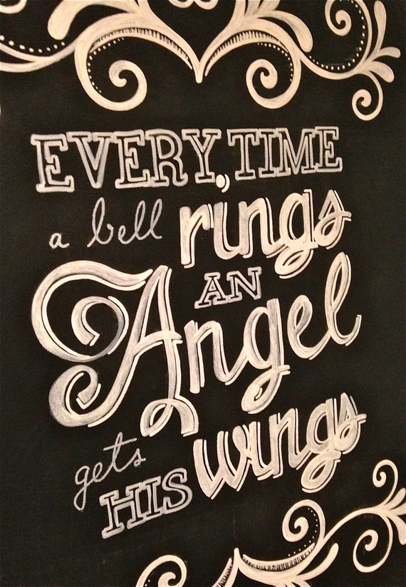 It 39 S A Wonderful Life Quote Hand Painted Canvas Every Time A Bell Rings An Angel Gets His Wings