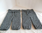 RESERVED Gunmetal Gray Crocheted Preemie Pants for Twins Photography Prop Preemie to Newborn