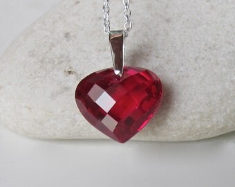 Red Heart Cubic Zirconia Necklace- Heart Shape Silver Necklace- Heart Gemstone Necklace- Heart Charm Layering Necklace- Statement Necklace
