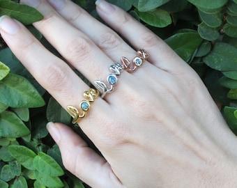 Blue Topaz Love Ring-Rose Gold Statement Ring- Bestfriends Love Ring- Blue Stone Ring-Gemstone Rings-Promise Rings-Gemstone Ring