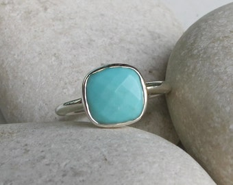 Faceted Square Turquoise Ring- Bohemian December Birthstone Ring- Blue Stack Gemstone Ring- Simple Blue Boho Chic Ring- Stackable Stone Ring