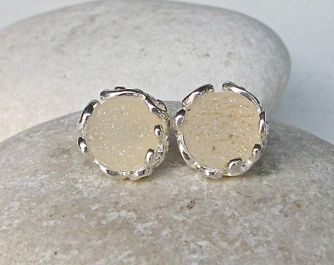 Beige Druzy Stud Earring- Round Classic Earring- Sterling Silver Earring- Bridesmaid Stud Earring- Jewelry Gifts for Her