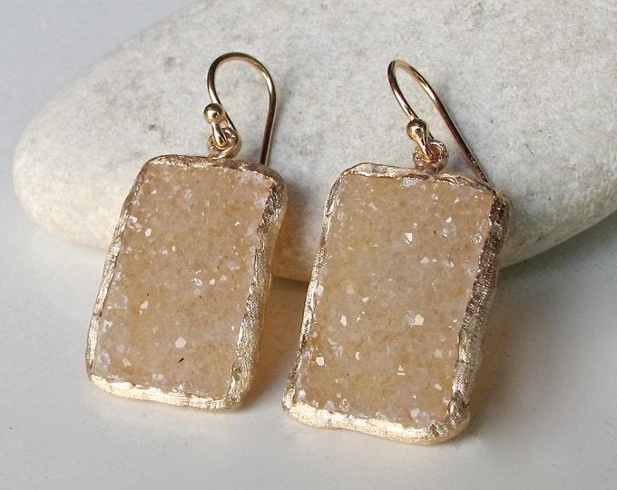 Rose Gold Druzy Earring- Bridal Drusy Earring- Pink Statement Earring- Rectangle Wedding Earring- Elegant Evening Earring- Artisan Earring