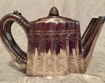 "Vintage ""Godinger"" Silver Plated Tea Pot Napkin Holder with Beautiful Trim on Front & Back, Copyright 1993 Made in Hong Kong"