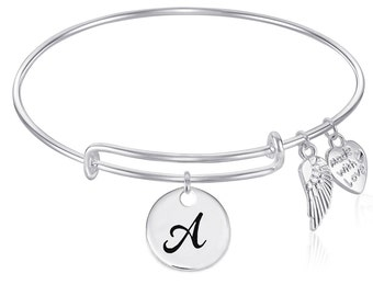 INITIAL Expandable Wire Bangle Bracelet with Angel Wing Charm Silver Finish GIFT BOXED