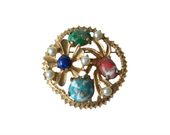 Sarah Coventry Brooch Pin Art Glass Cabochons Floral Gold Tone