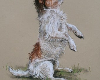 Jack Russell Terrier cute dog card 'I can sit!' from an original soft pastel sketch