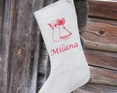 Christmas stockings Personalized burlap linen Embroidered -  Personalized with name and little girl