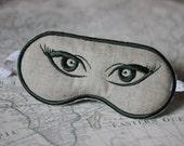 Sleep Eye Mask, linen with dark green eyes Embroidery