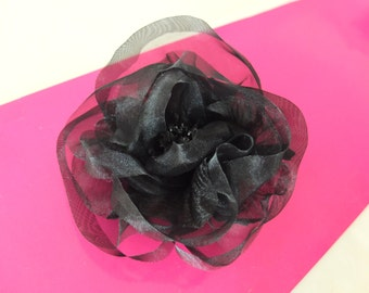 Black Organza hair fascinator / Bridal Sash Flowers / Floral headpiece / Hair Clips