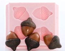 Acorn Mold Flexible Silicone Mold Creates 4 Acorns Food Safe Fondant Chocolate Sugar Mold Craft Jewelry Resin Polymer Clay Wax Mold  (717)