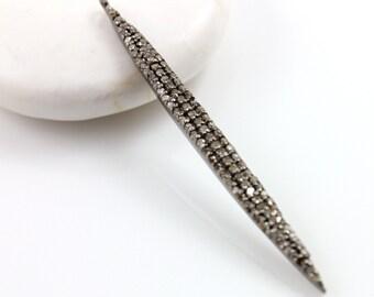 Pave Diamond Pendant, Pave Spoke Charm Pendant, Diamond Spoke Charm, Pave Spoke Necklace, Oxidized Silver, Pave Connector.  (DCH/CR145)