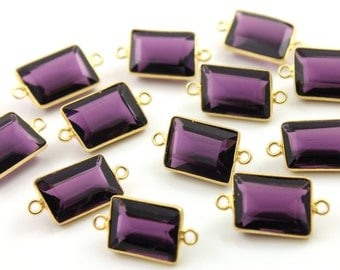 Natural Amethyst Connectors, Bezeled Gemstones,Gold Vermeil ,11X15mm 1 Piece, (BZC9043/CNT/AM)