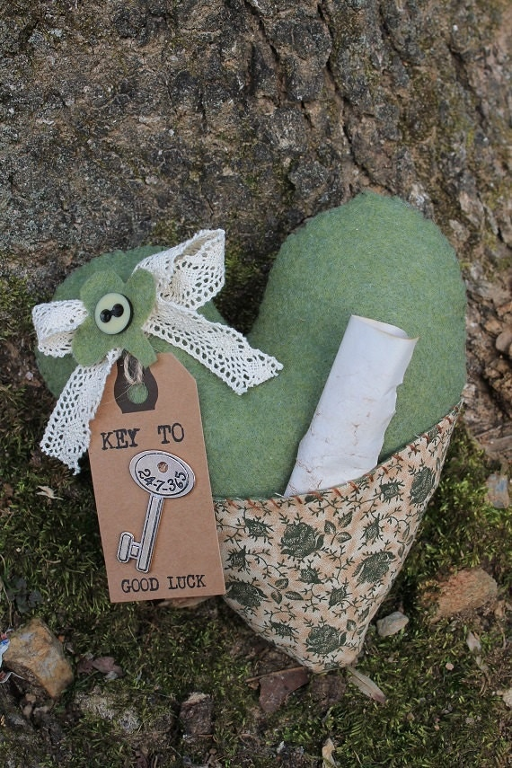 St Patricks Day Key To Good Luck Pillow Handmade Heart