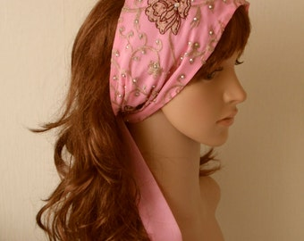 Pink Headband, Embroidered Headscarf, Embroidered Flower Hair Scarf with Ties, Chiffon Headband, Self Tie Hair Scarf