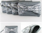 Bridesmaid-Wedding Clutch - Gray Lace Bow Clutch - Set of 6