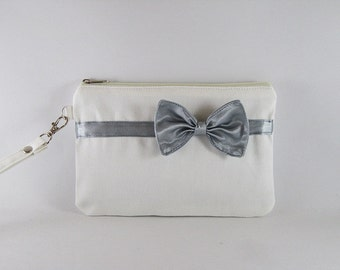 SUPER SALE - Ivory with Little Silver Bow Clutch - Bridal Clutch, Bridesmaid Wristlet,Wedding Gift,Cosmetic Bag,Zipper Pouch - Made To Order