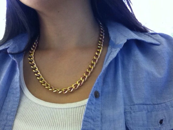 Chunky Statement Gold Curb Chain Necklace, Chunky Gold Curb Chain Necklace, Gold Chain Necklace