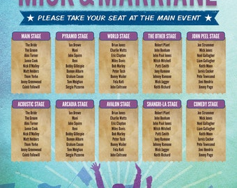 Music Festival themed Wedding Seating Table Plan