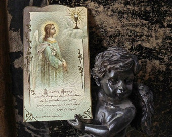 old first communion religious embossed card