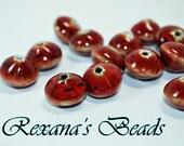 Red Porcelain Saucer Beads- Set of 18