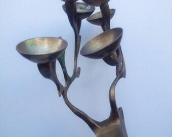 Vintage Brass Reindeer Candle Holder