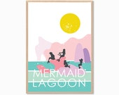PETER PAN | Mermaid Lagoon Poster : Modern Illustration Disney Movie Retro Art Wall Decor Print