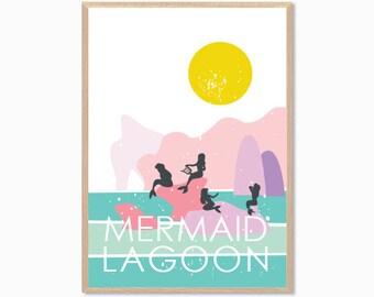 PETER PAN   Mermaid Lagoon Poster : Modern Illustration Disney Movie Retro Art Wall Decor Print