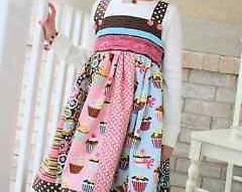 Cuppy Cake Dress Pattern Girl Children Pink Fig Sizes 12m-10y DIY Sewing