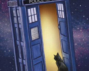 Tardis Cat 4x6 Postcard